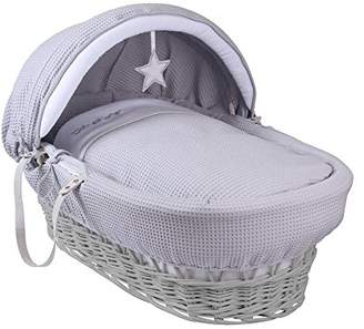 Clair De Lune Silver Lining Grey Wicker Moses Basket inc. bedding, mattress & adjustable hood (White)