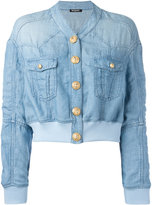 Balmain cropped washed denim jacket - women - Linen/Flax/Polyamide/Spandex/Elastane/Viscose - 40