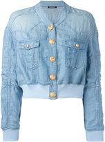 Balmain cropped washed denim jacket - women - Lyocell/Linen/Flax/Viscose/Spandex/Elastane - 36