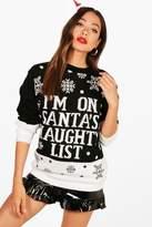 Boohoo Hannah Santa's Naughty List Christmas Jumper