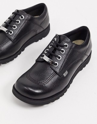 Kickers kick low luxx lace up flat shoes in black leather