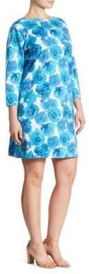 Joan Vass Floral-Print Stretch-Cotton Pique Dress