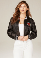 Bebe Patch Satin Bomber Jacket