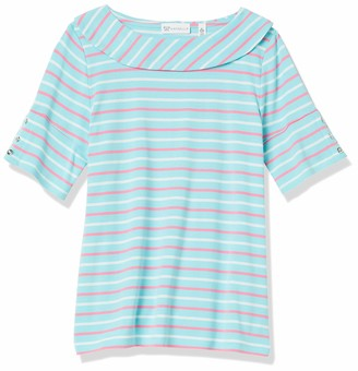 Rafaella Women's Spaced Stripe Marilyn Neck Elbow Sleeve Tee