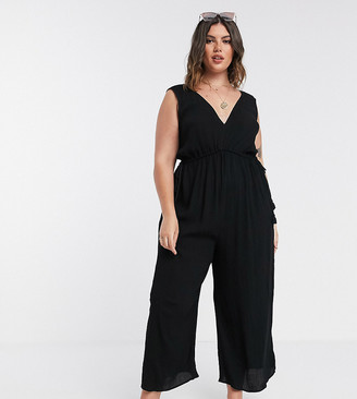 Asos DESIGN Curve lounge minimal wide leg jumpsuit with rope channel waist in black