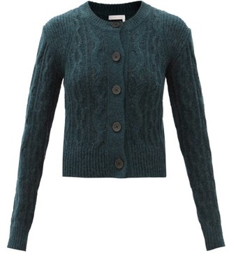 See by Chloe Cable-knitted Wool-blend Cardigan - Dark Green