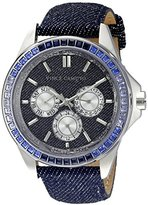 Vince Camuto Women's VC/5277DKDM Swarovski Crystal Accented Multi-Function Dial Blue Denim Strap Watch
