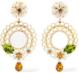 Dolce & Gabbana Gold-tone, Swarovski Crystal And Enamel Clip Earrings - one size