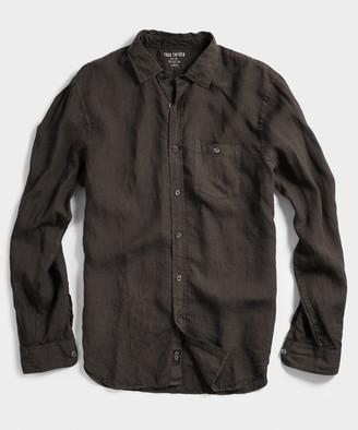 Todd Snyder Spread Collar Linen Shirt in Brown