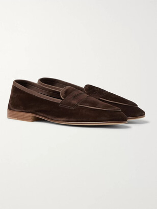 Edward Green Polperro Suede Penny Loafers - Men - Brown