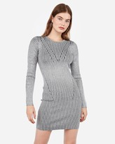 Express Striped Ribbed Long Sleeve Fitted Sweater Dress