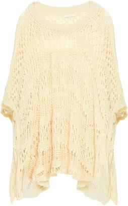See by Chloe Asymmetric Pointelle-knit Cotton Poncho