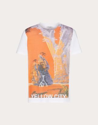 Valentino Roger Dean Print T-shirt Man Light Blue Cotton 100% L