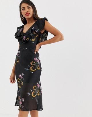 Talulah Lullaby Floral Ruffle Midi Dress