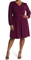 Thumbnail for your product : London Times V-Neck Empire Smocked Waist Long Sleeve Dress