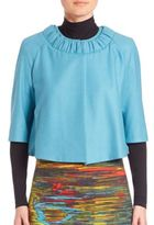 Akris Punto Wool & Angora Ruched-Collar Cropped Bubble Jacket