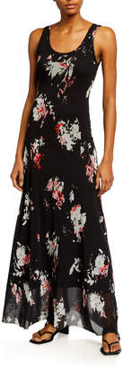Fuzzi Aquarello Small Floral Maxi Dress