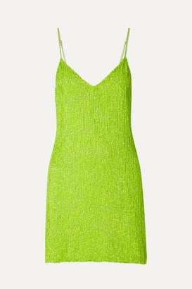 retrofete Claire Neon Sequined Chiffon Mini Dress - Green