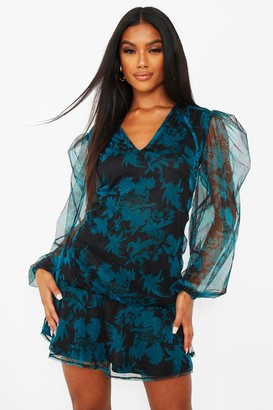 boohoo Floral Print Tie Neck Frill Hem Shift Dress