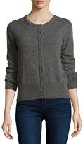 Neiman Marcus Cashmere Basic Button-Up Cardigan, Gray