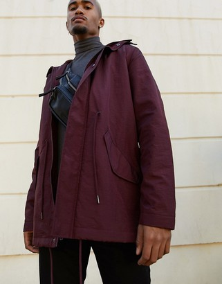 ASOS DESIGN parka jacket in burgundy with fleece lining