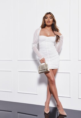 Missguided Cream Mesh Ruched Mini Dress