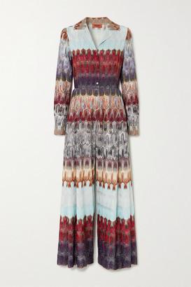 Missoni Metallic Crochet-knit Jumpsuit - Turquoise