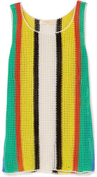 Diane von Furstenberg Striped Crochet-knit Cotton Mini Dress - Yellow