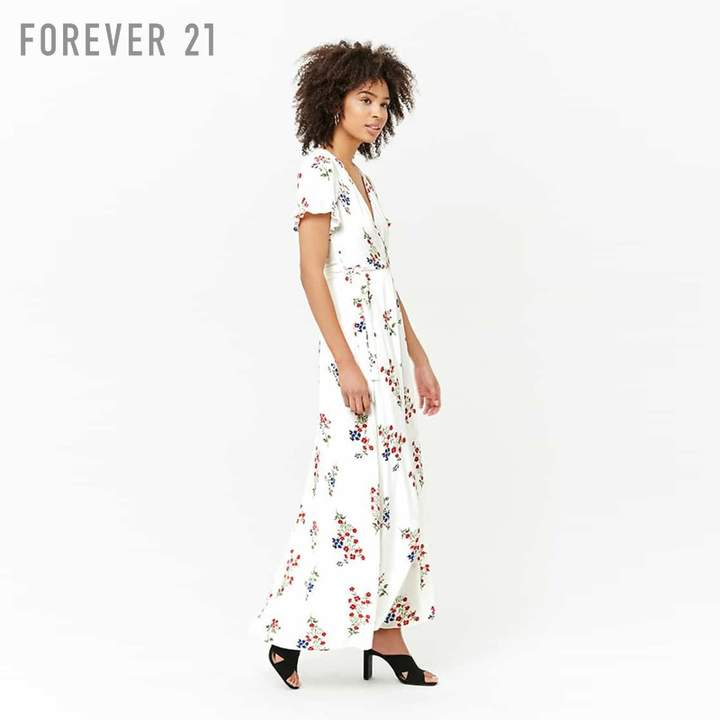 Forever 21 (フォーエバー 21) - Forever 21 フラワーカシュクールマキシワンピース