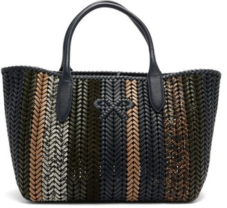 Anya Hindmarch The Neeson Small Woven-leather Tote Bag - Blue Multi