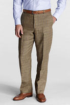 Lands' End Men's Regular Plain Front Traditional Fit Pattern Linen Trousers
