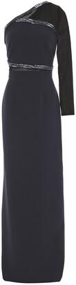 Safiyaa One-shoulder Bead-embellished Crepe Gown