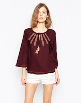 Only Cheesecloth Bell Sleeve Top With Embroidered Detail