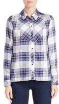 Kensie Plaid Jersey Button-Front Shirt