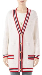 Gucci GG Logo Embossed Long Cardigan