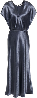 Vince Belted Satin-crepe Midi Dress