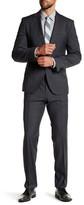 HUGO BOSS Johnston2/Lenon Medium Gray Plaid Two Button Notch Lapel Virgin Wool Trim Fit Suit