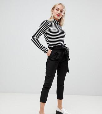 New Look Petite tie waist trousers in black
