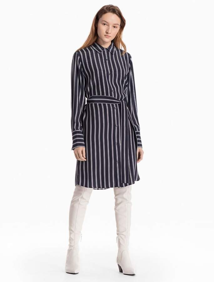 Calvin Klein striped silk shirt dress