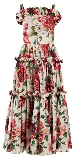 Dolce & Gabbana Peony And Rose Print Cotton Poplin Dress - Womens - White Multi