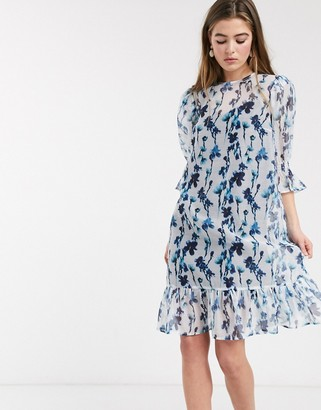 Lost Ink midi smock dress with volume sleeves and peplum hem in smudge floral print-Blue