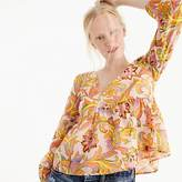 J.Crew Cotton-silk voile top in bright paisley