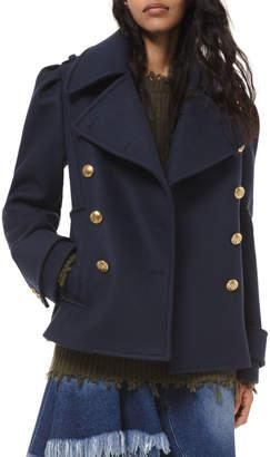 Michael Kors Wool Military Pea Coat