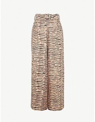 Faithfull The Brand Lena animal-print wide-leg high-rise linen trousers