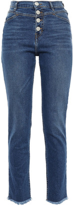 Maje Frayed High-rise Slim-leg Jeans