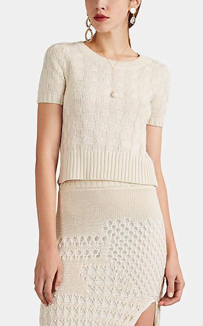Altuzarra Women's Nicoletta Checked Cotton-Blend Crop Sweater - Ivory