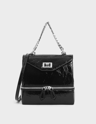Charles & KeithCharles & Keith Wrinkled Patent Two-Way Zip Chain Handle Bag
