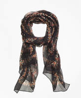 Brooks Brothers Flower Silk Crinkle Chiffon Scarf