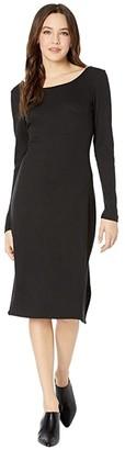 Chaser Cozy Rib Scoop Back Bodycon Midi Dress (True Black) Women's Clothing