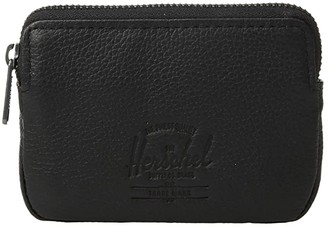 Herschel Oxford Pouch Leather RFID (Black Pebbled Leather 1) Wallet Handbags